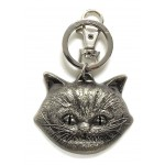 Cheshire Cat Head Pewter Key Ring