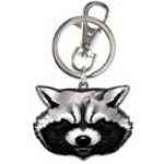 Rocket Raccoon Head Pewter Key Ring