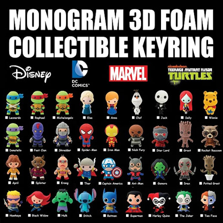 DC Series 3//3D Foam Blind Bag Key Chains 3 3 Monogram International 45330